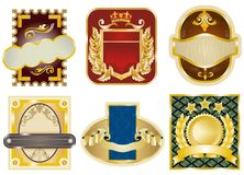 Gold framed labels Stock Images