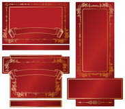 Gold-framed labels. And background on different topics Royalty Free Stock Photos