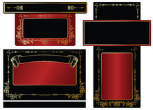 Gold-framed labels. And background on different topics Stock Image