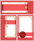Gold-framed labels. And background on different topics Royalty Free Stock Image