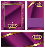 Gold-framed labels. And background on different topics Stock Photography