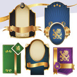 Gold-framed labels. On different topics Stock Images