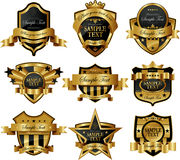 Gold framed labels Royalty Free Stock Images