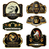 Gold-framed labels. On different topics for decoration and design Royalty Free Stock Images