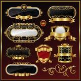 Gold framed labels. Golden shield design illustration Royalty Free Stock Photo