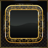 Gold framed labels. Golden shield design illustration Royalty Free Stock Image