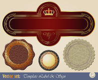 Gold-framed labels. On different topics for decoration and design Stock Photos