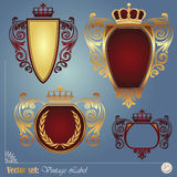Gold-framed labels. On different topics for decoration and design Royalty Free Stock Photo