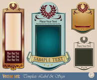 Gold-framed labels. On different topics for decoration and design Royalty Free Stock Photography