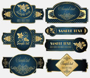 Gold-framed labels on different topics Stock Image