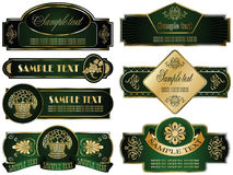 Gold-framed labels on different topics. Vector set: gold-framed labels on different topics Stock Images