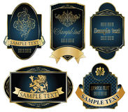 Gold-framed labels on different topics Stock Photography