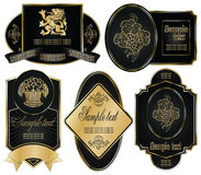 Gold-framed labels on different topics. Vector set: gold-framed labels on different topics Royalty Free Stock Photo