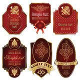 Gold-framed labels on different topics. Vector set: gold-framed labels on different topics Royalty Free Stock Image