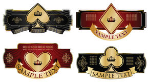 Gold-framed labels on different topics. Vector set: gold-framed labels on different topics Stock Photography