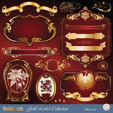 Gold-framed labels, ribbon, ornaments and elements. Vector set: gold-framed labels, ribbon, ornaments and elements on different topics for decoration and design Stock Photos