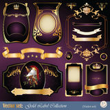 Gold-framed labels, ribbon, ornaments and elements. Vector set: gold-framed labels, ribbon, ornaments and elements on different topics for decoration and design Stock Images