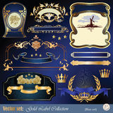 Gold-framed labels, ribbon, ornaments and elements. Vector set: gold-framed labels, ribbon, ornaments and elements on different topics for decoration and design Royalty Free Stock Photo