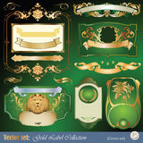 Gold-framed labels, ribbon, ornaments and elements. Vector set: gold-framed labels, ribbon, ornaments and elements on different topics for decoration and design Royalty Free Stock Images