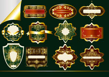 Gold-framed labels vector set: Royalty Free Stock Photo