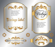 Gold framed labels. Vector vintage gold framed labels set. Golden on white. Baroque style premium quality label collection. Best for chocolate, perfume, luxury Stock Photo