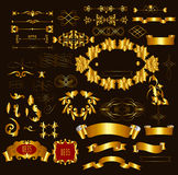Gold-framed luxury  calligraphic design elements and page decora. Calligraphic ornate decorative elements. Calligraphic vector Royalty Free Stock Photo