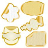 Gold framed paper stickers with peeling corners Stock Photography