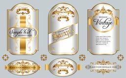 Gold framed white labels Stock Images