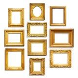Gold frames. Set of antique golden frames on white background Stock Image
