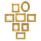 Gold frames. Set of antique golden frames on white background Royalty Free Stock Photo