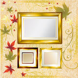 Gold frames with Autumn Leafs. Thanksgiving Royalty Free Stock Photos