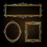 Gold frames on black background. Set of vintage banners. Gold frames on black background. Vector illustration Stock Images