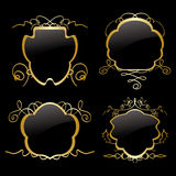 Gold vector frames with gold decorations - set Royalty Free Stock Photography