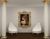 Gold frames with picture of woman on the wall Stock Photography