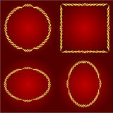 Gold frames on the Red background vector Royalty Free Stock Photos