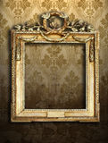 Gold frames, retro wallpaper Stock Image