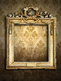 Gold frames, retro wallpaper. Gold ornate frames and retro wallpaper Royalty Free Stock Image