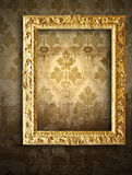 Gold frames, retro wallpaper Royalty Free Stock Photography