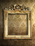Gold frames, retro wallpaper Stock Photo