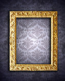 Gold frames, retro wallpaper Royalty Free Stock Images