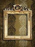 Gold frames, retro wallpaper Stock Images