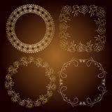 Gold frames - vector roses and vintage Stock Photography