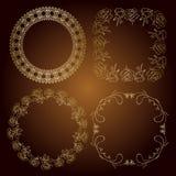 Gold frames - vector roses and vintage. Gold frames - roses and vintage vector Stock Photography