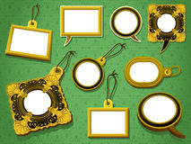 Gold frames set tag and speech bubbles Royalty Free Stock Photos