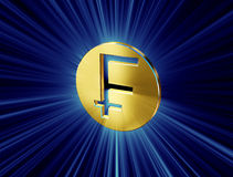 Gold franc symbol. Image symbol in the form of the franc coins Royalty Free Stock Image