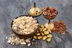 Gold Frankincense and Myrrh stock image