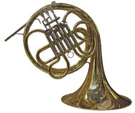 French Horn. Gold French Horn isolated on white background Royalty Free Stock Image