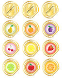Gold fruit labels Stock Image
