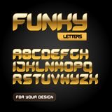 Gold `Funky letters` isolated on black background. Modern golden font. Latin alphabet letters. Alphabet. Modern geometric font for. Advertising, title or logo Stock Photo