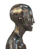 Gold futuristic robotic man Stock Photos